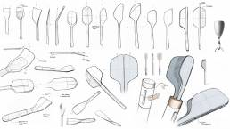 Hand drawn sketches of a kitchen spatula