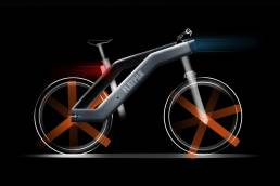 Bicycle with front and rear lights on